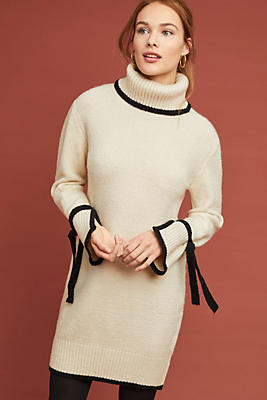 Slide View: 1: Bow-Tied Turtleneck Dress