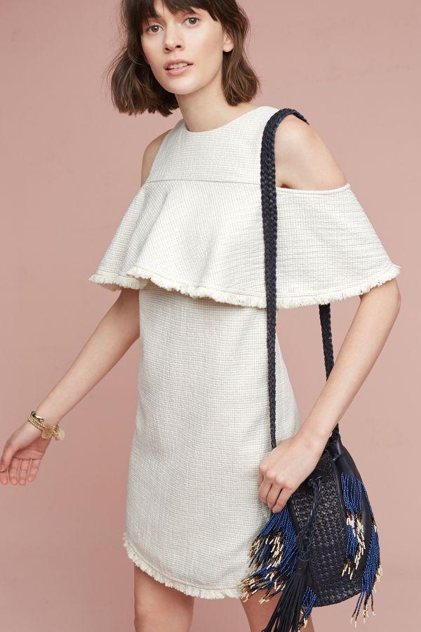 HD in Paris Tweeded Open-Shoulder Dress