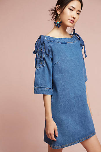 Denim Open-Shoulder Shift Dress
