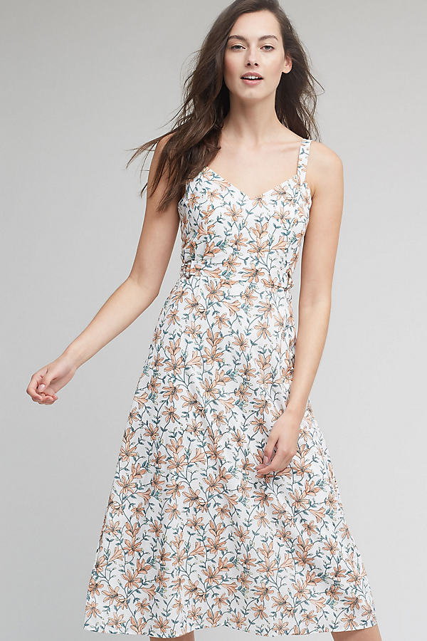 Charity Floral Midi Dress, White - A/s, Size M