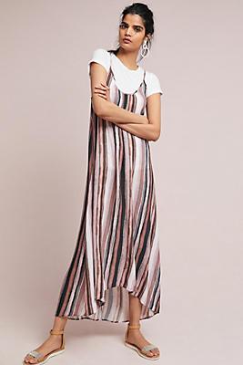Slide View: 1: Vertically Striped Slip Dress