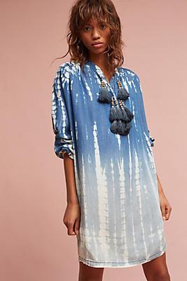 Slide View: 1: Dina Tasseled Chambray Tunic Dress