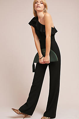 Slide View: 1: ML Monique Lhuillier One-Shoulder Jumpsuit