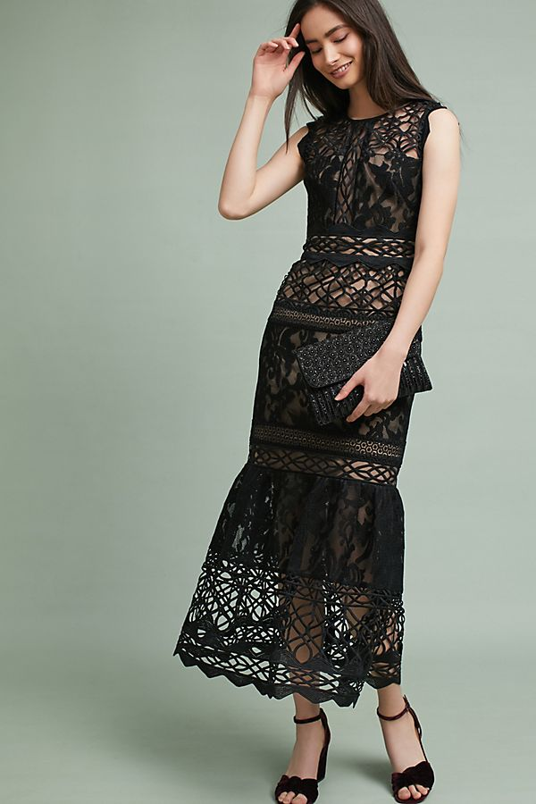 Ml Monique Lhuillier Lace Trumpet Dress