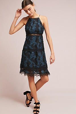 Slide View: 1: ML Monique Lhuillier Embroidered Silk Dress