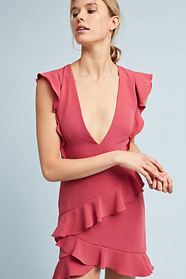 Slide View: 1: ML Monique Lhuillier Asymmetrical Ruffle Dress
