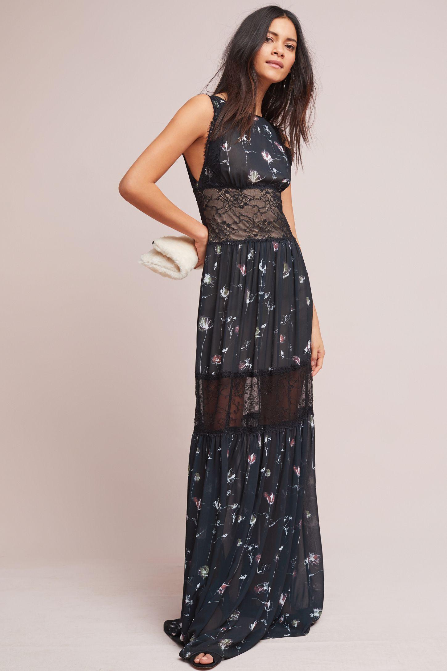 ML Monique Lhuillier Floral Lace Maxi Dress | Anthropologie