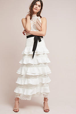 Slide View: 1: ML Monique Lhuillier Ruffled Maxi Dress