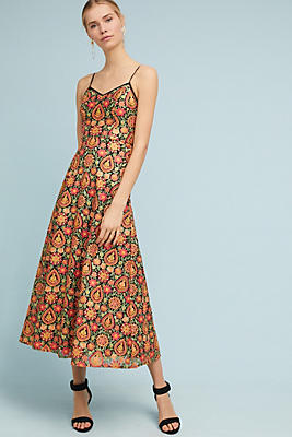 Slide View: 1: ML Monique Lhuillier Floral Midi Dress