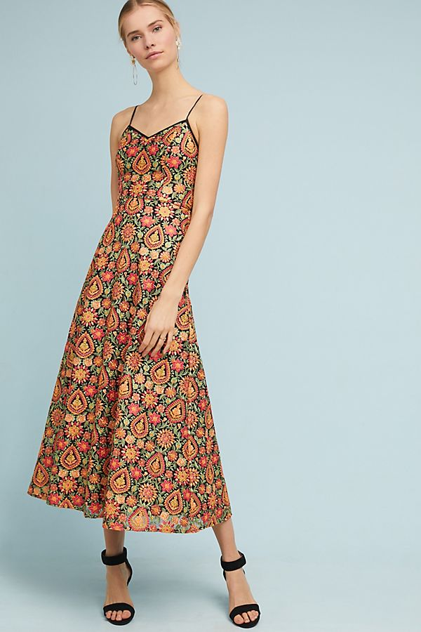 Ml Monique Lhuillier Fl Midi Dress