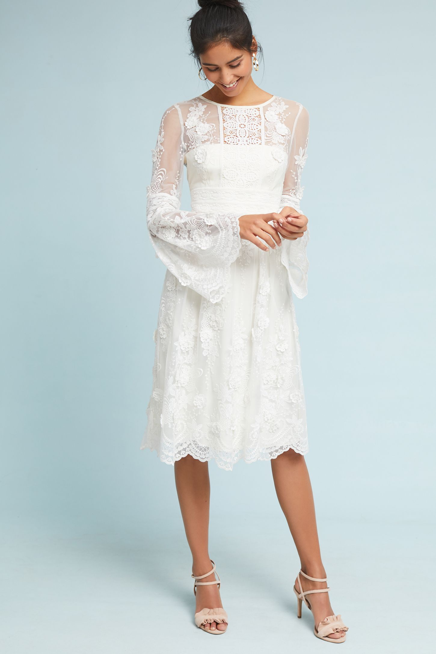 ML Monique Lhuillier Mixed Lace Dress | Anthropologie