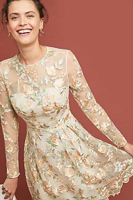 Slide View: 1: ML Monique Lhuillier Cia Embroidered Dress