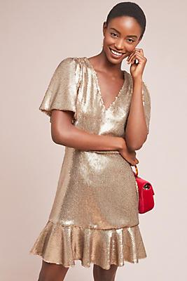 Slide View: 1: ML Monique Lhuillier Gold Rush Dress