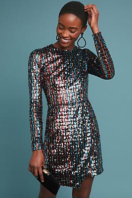 Slide View: 1: ML Monique Lhuillier Striped Sequin Dress