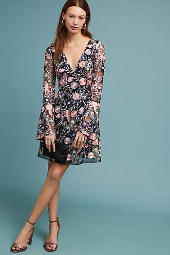 ML Monique Lhuillier Roupell Embroidered Dress 197bb7b39