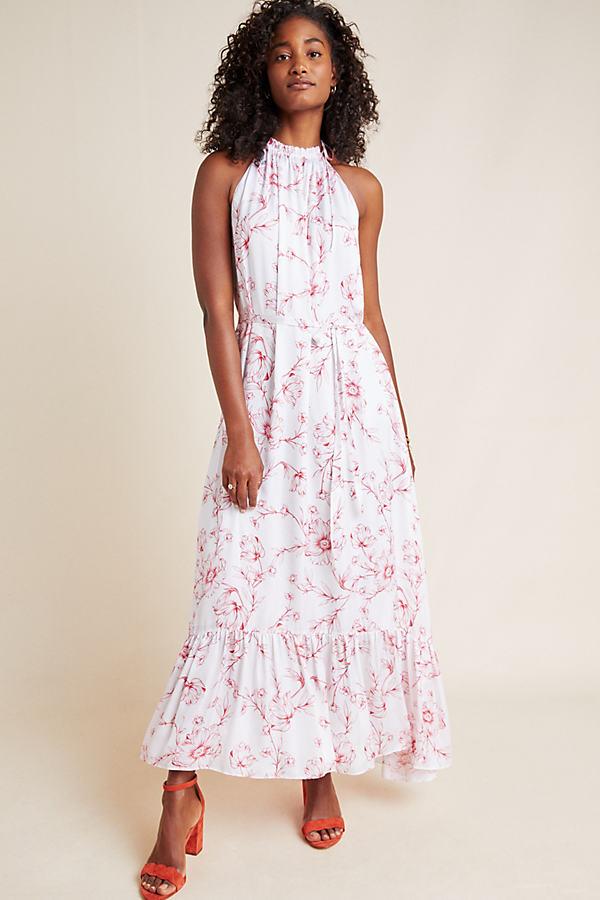 Ruffled Floral-Print Halterneck Maxi Dress - Assorted, Size Uk 6