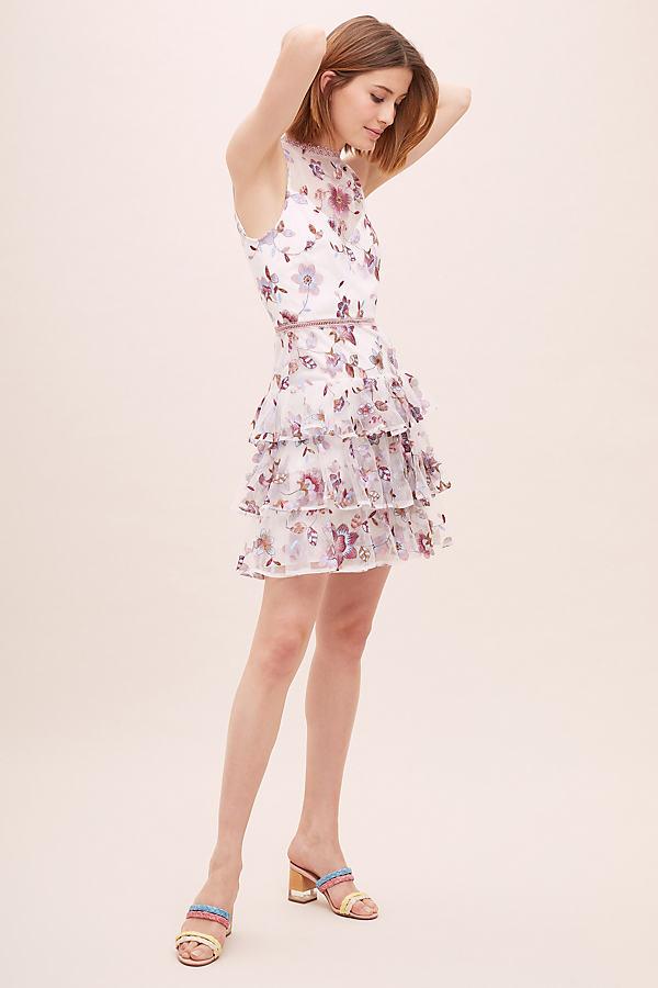 ML Monique Lhuillier Emilie Embroidered-Mesh Dress - White, Size Uk 16