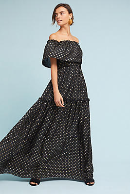 Slide View: 1: Gloria Off-The-Shoulder Maxi Dress