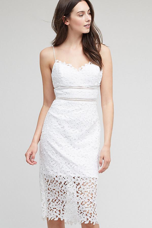 Ettie Lace Pencil Dress, White - White, Size Uk 10