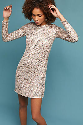 Slide View: 1: Sequined Long-Sleeved Shift Dress