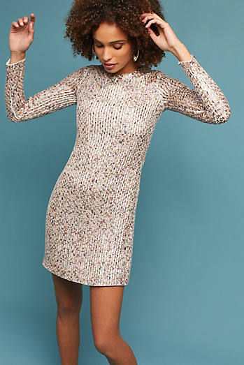 Sequined Long-Sleeved Shift Dress