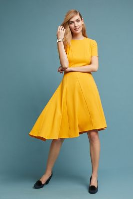 Yellow blue dress anthropologie