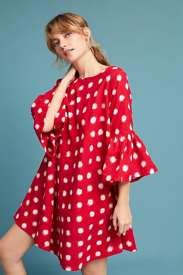 Ikat Bell-Sleeve Swing Dress - Red Motif, Size M/l