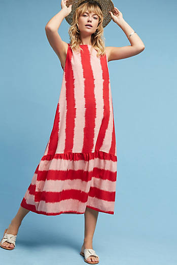 Priya Ikat Striped Dress, Pink