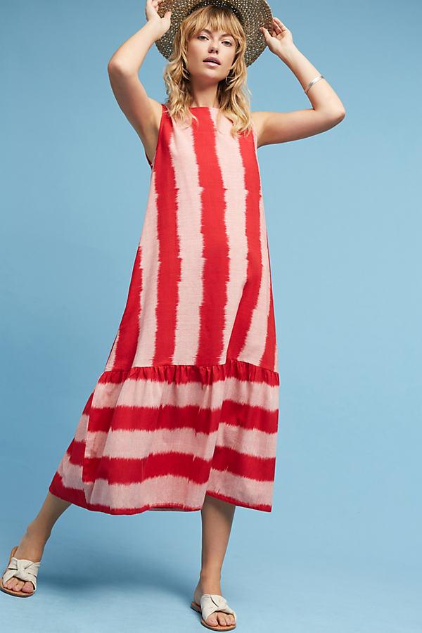 Priya Ikat Striped Dress, Pink - Pink, Size L
