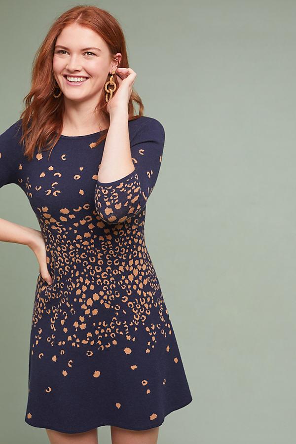 Beatrice Leopard Sweater Dress - Blue, Size L Petite