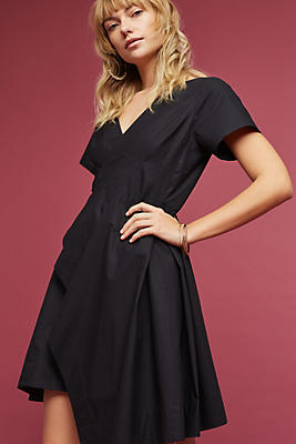 Slide View: 1: Seamed Poplin Dress