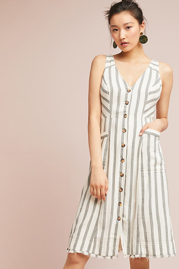Zelena Striped Shirtdress - White, Size Uk 8