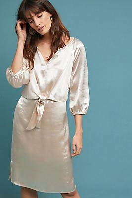 Slide View: 1: Metallic Tie-Waist Dress