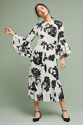Slide View: 1: Floral Flared-Sleeve Dress
