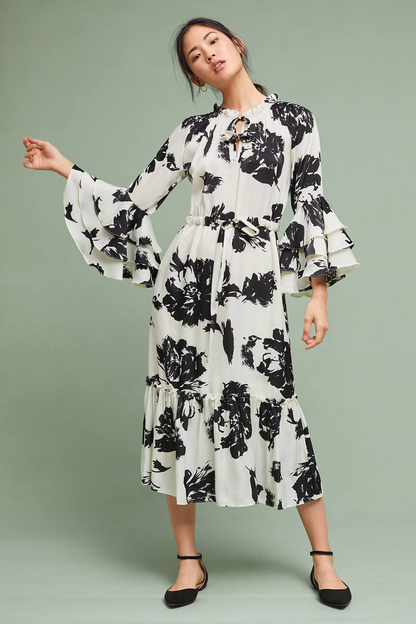 Floral Flared-Sleeve Dress