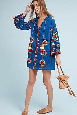 Slide View: 1: Palma Embroidered Tunic Dress