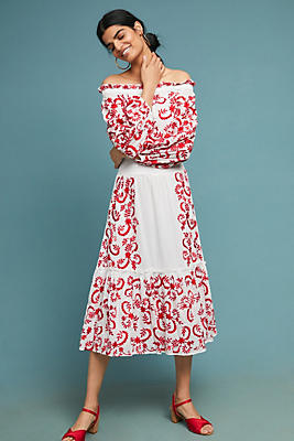 Slide View: 1: Lilou Embroidered Off-The-Shoulder Dress