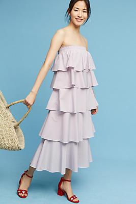 Slide View: 1: Tiered Strapless Midi Dress