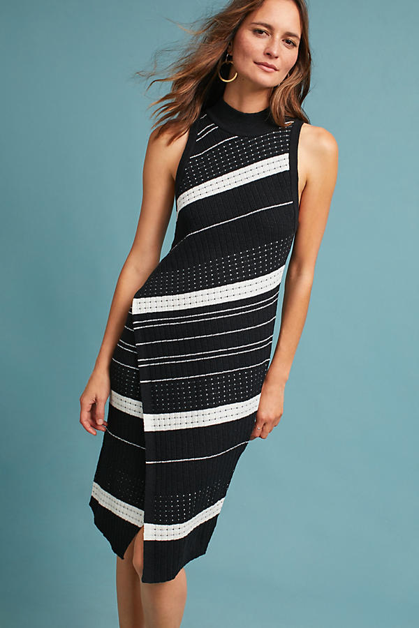 Slide View: 1: Velda Asymmetric Striped Dress, Black