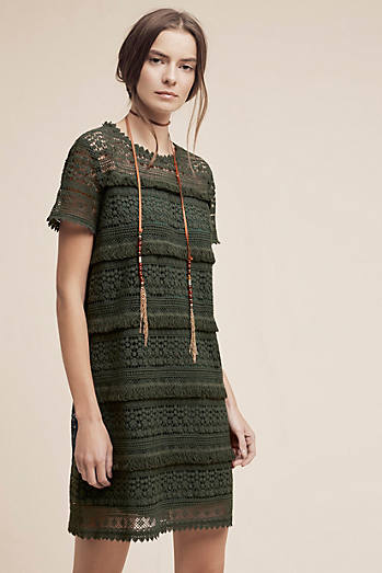 Beatriz Fringed Lace Dress, Green