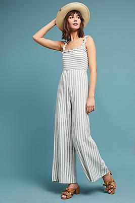 Slide View: 1: Smocked and Striped Jumpsuit