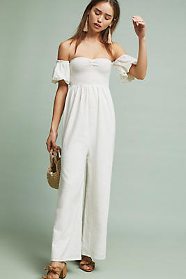 Slide View: 1: Off-The-Shoulder Sweetheart Jumpsuit