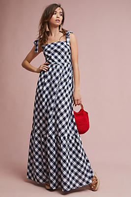 Slide View: 1: Tiered Gingham Maxi Dress