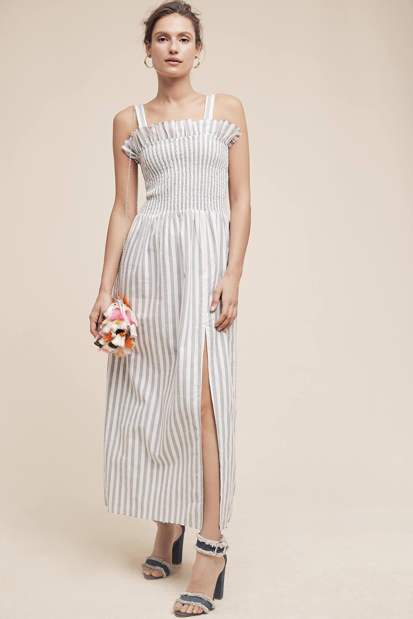 Smocked & Striped Maxi Dress