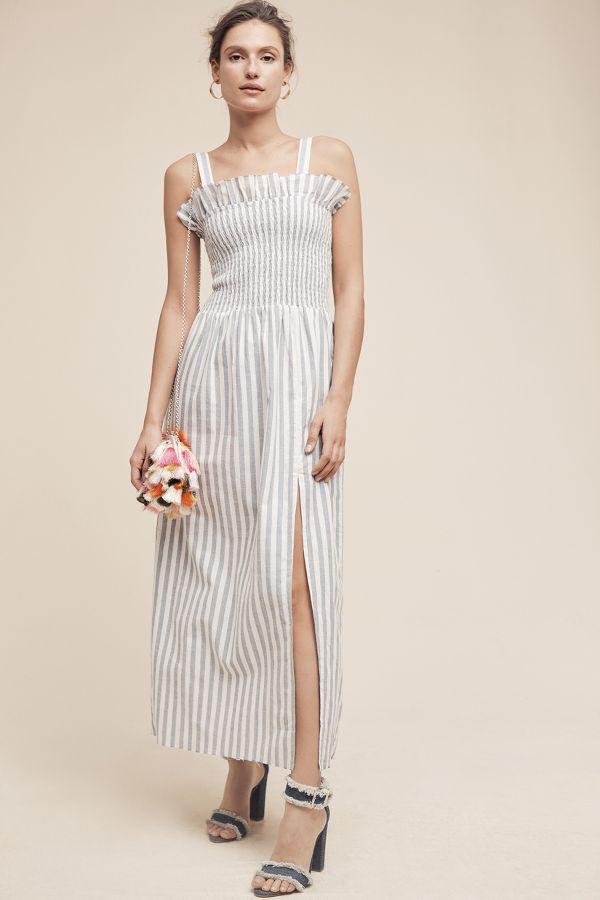 Steele Smocked & Striped Midi Dress