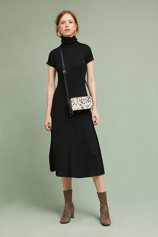 Samson Knitted Turtleneck Midi Dress - Black, Size S