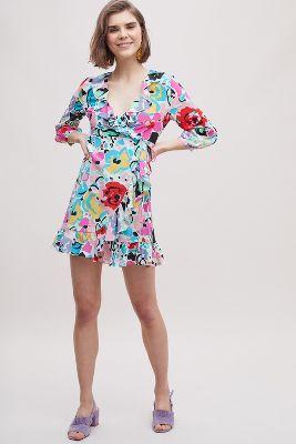 Rixo London Abigail Printed Wrap Silk Dress by Anthropologie