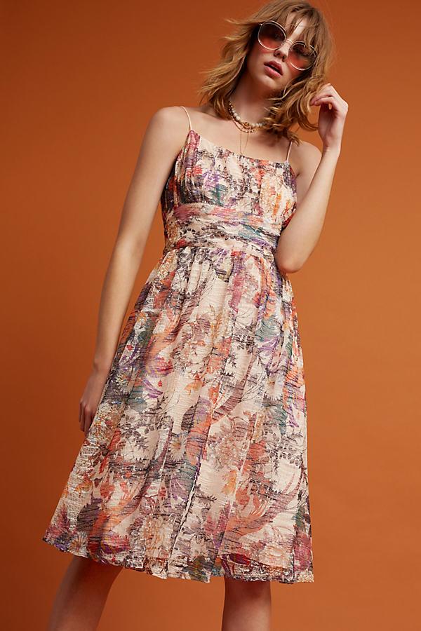 Mackenzie Floral Dress, Neutral - Neutral Motif, Size Uk 10