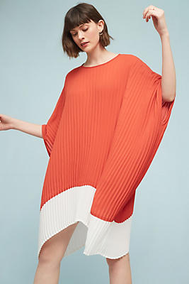 Slide View: 1: Pleated Colorblock Tunic Dress