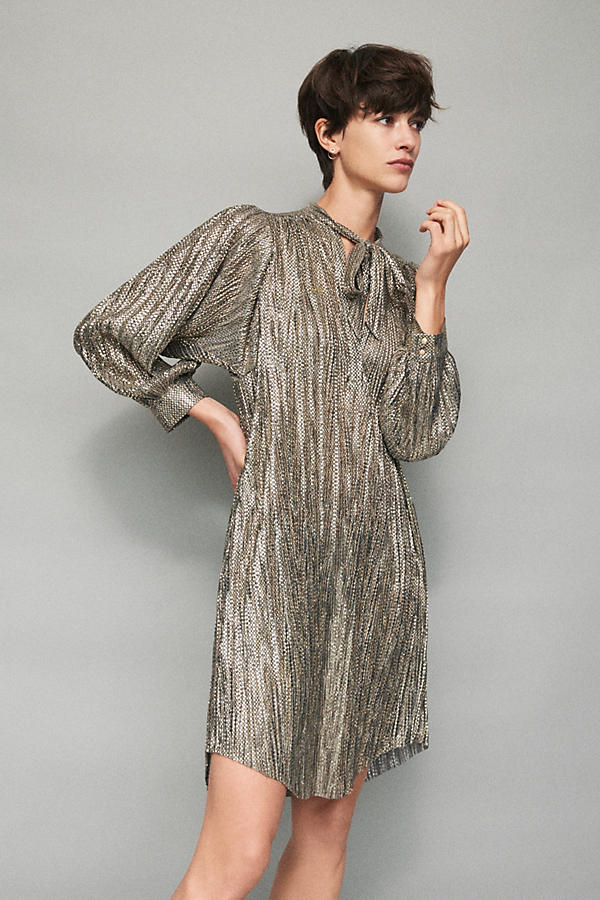 Slide View: 7: Eugene Shimmer Tunic Dress, Gold